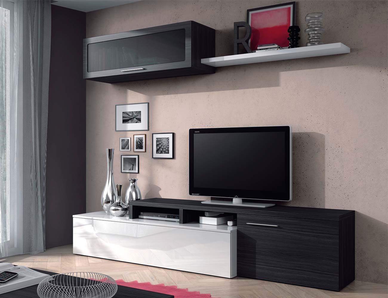 Mueble de salón comedor en blanco con gris ceniza (6793) | Factory ...