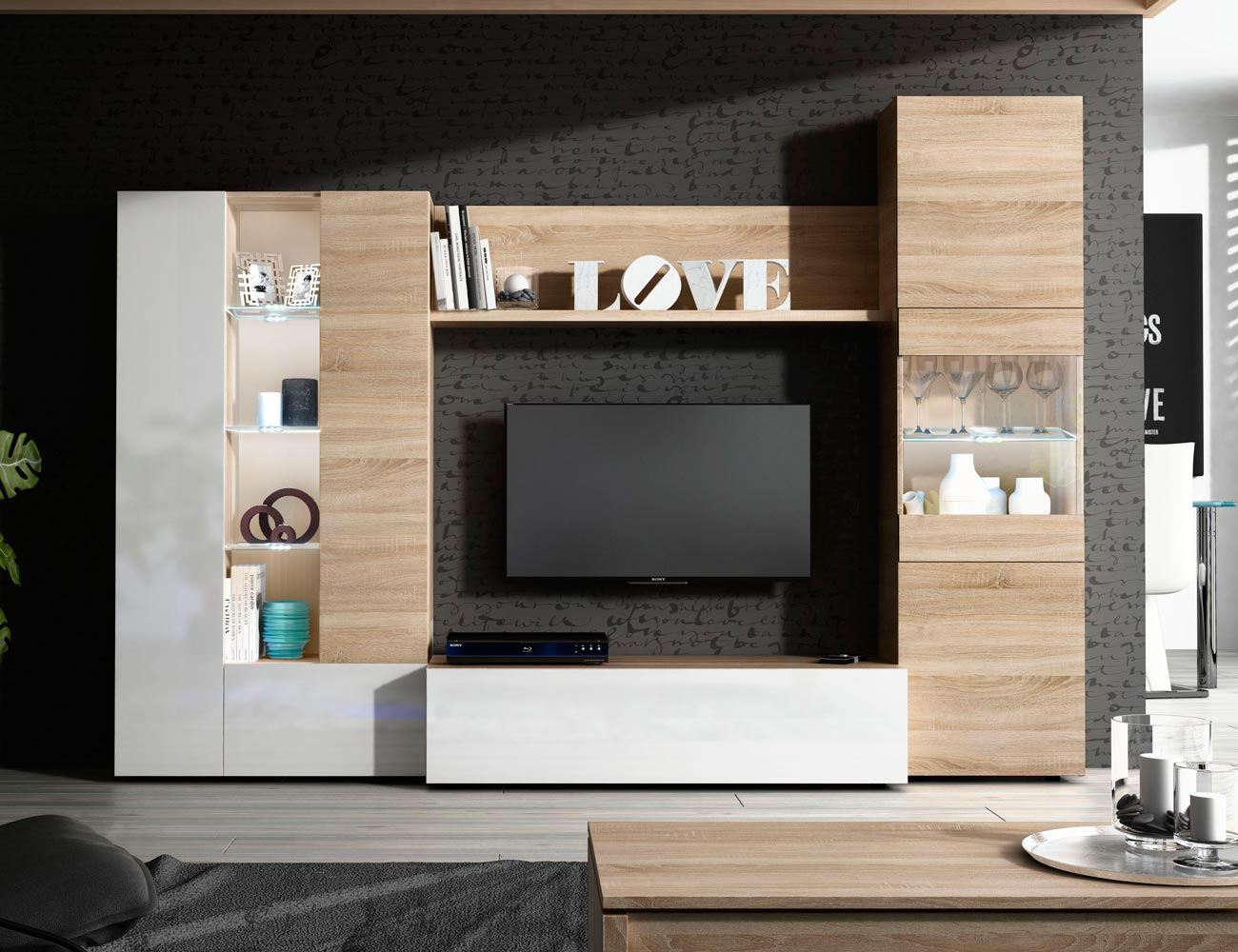 Mueble modular blanco salon 20170808071222 for Salon comedor blanco