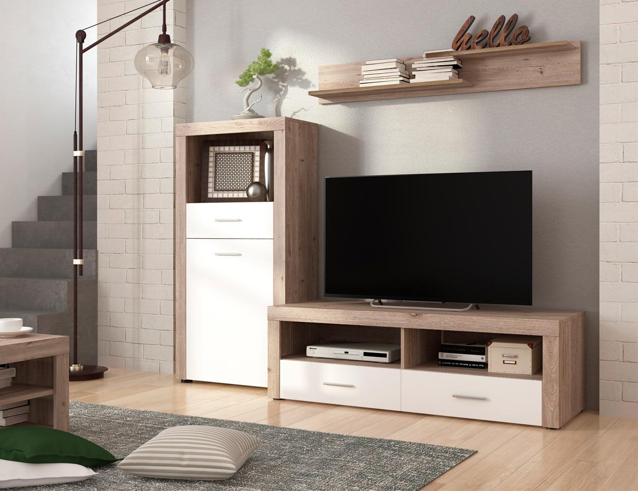 Mueble salon comedor bodeguero estante bajo tv color cañon 201cm1