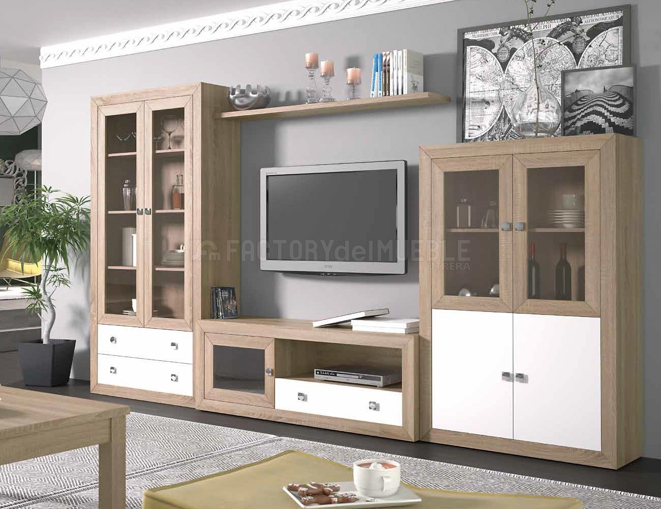 Mueble de salon colonial moderno en cambrian con blanco - Mueble salon moderno blanco ...