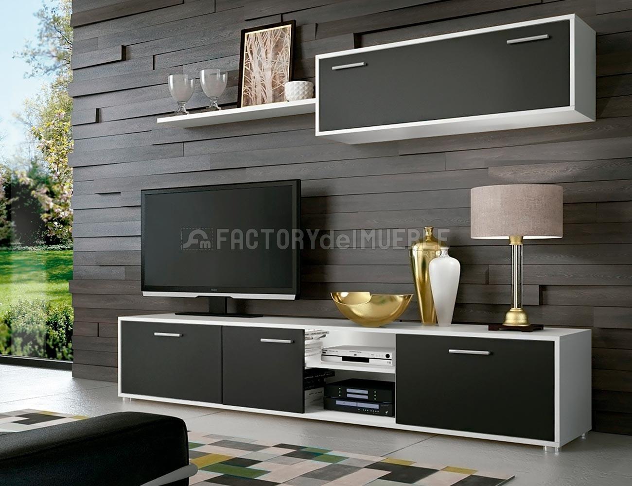 Mueble salon comedor grafito blanco11