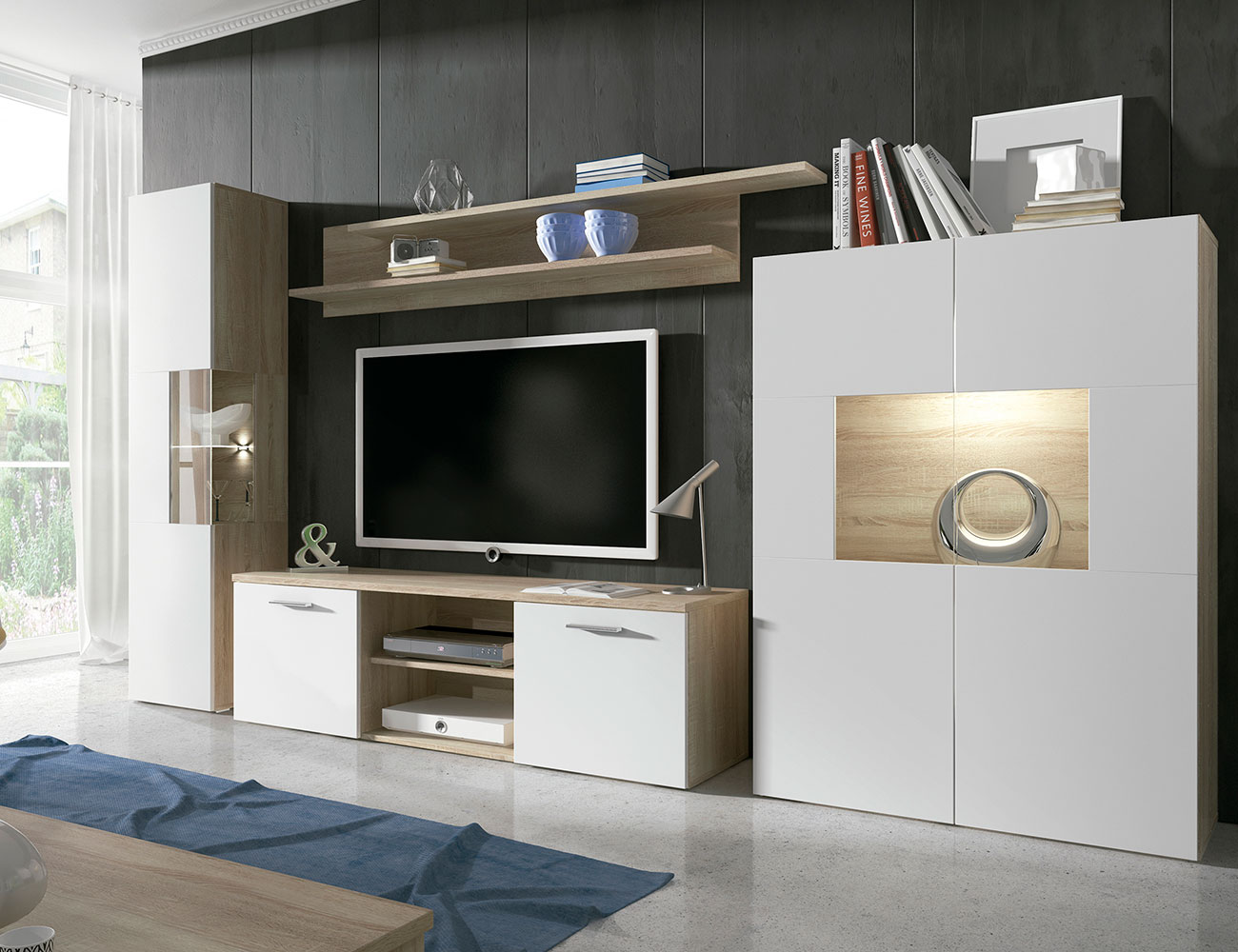 Mueble de sal n moderno con luces leds en cambrian con for Mueble salon moderno blanco