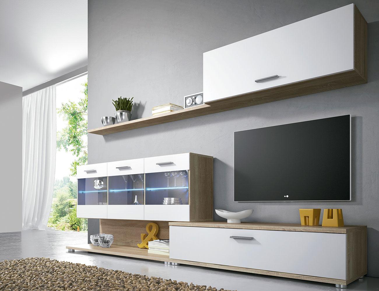 Mueble salon comedor luces leds moderno vitrina cambrian blanco