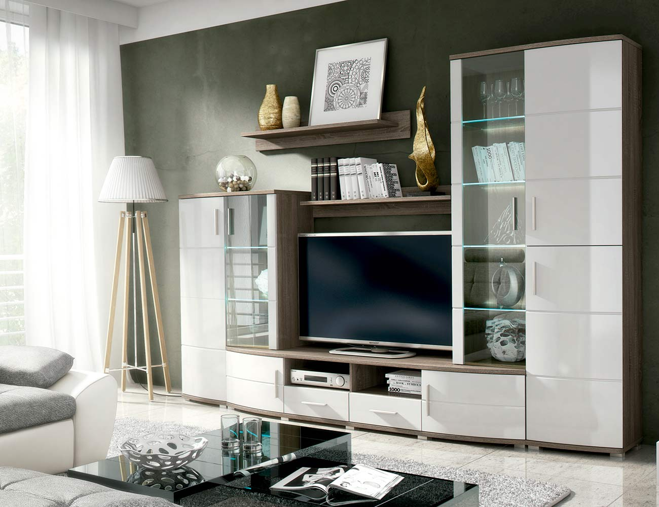mueble de sal n estilo moderno de madera dm lacado con