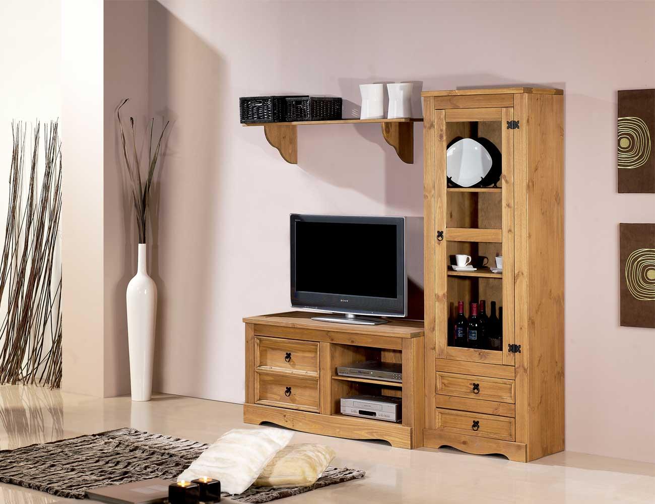 Mueble salon comedor madera rustico nogal claro vitrina cristal 175 cm