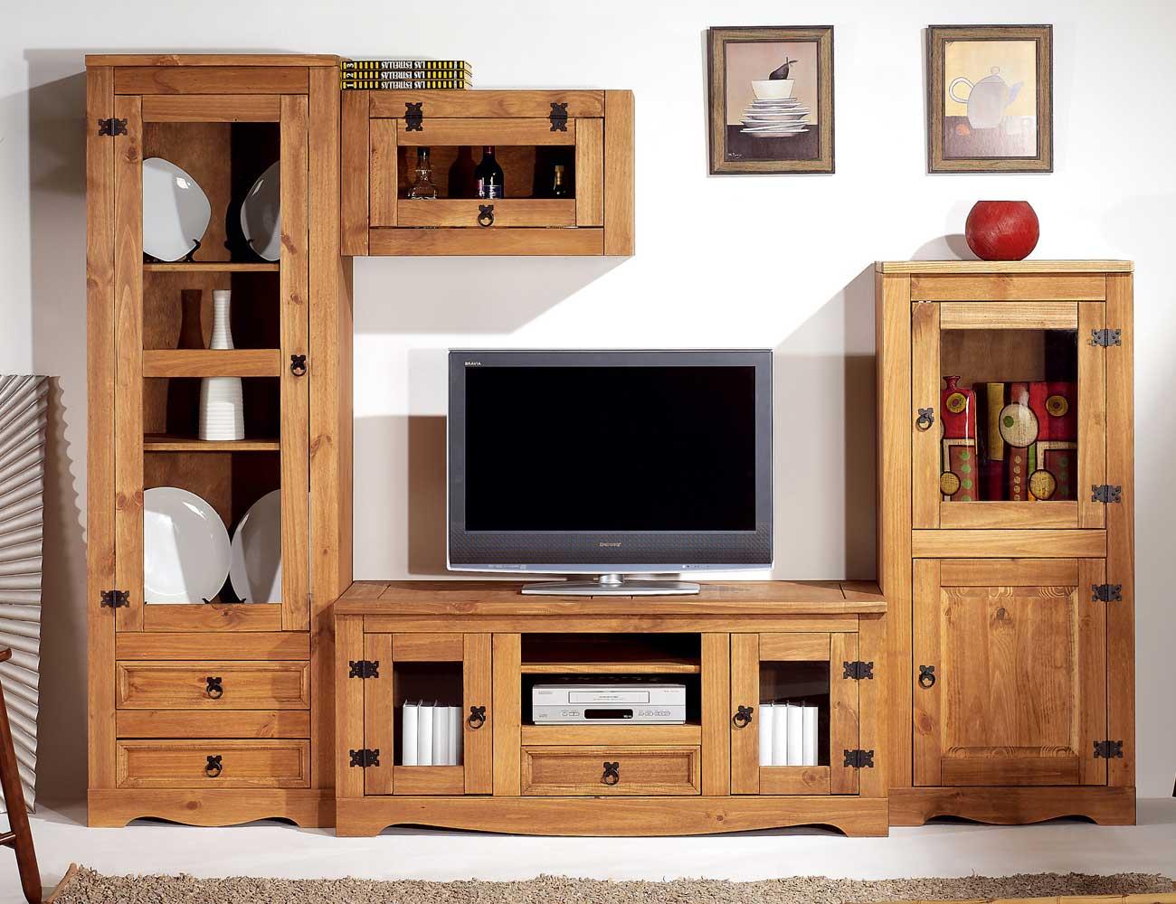 Mueble salon comedor madera rustico nogal claro1