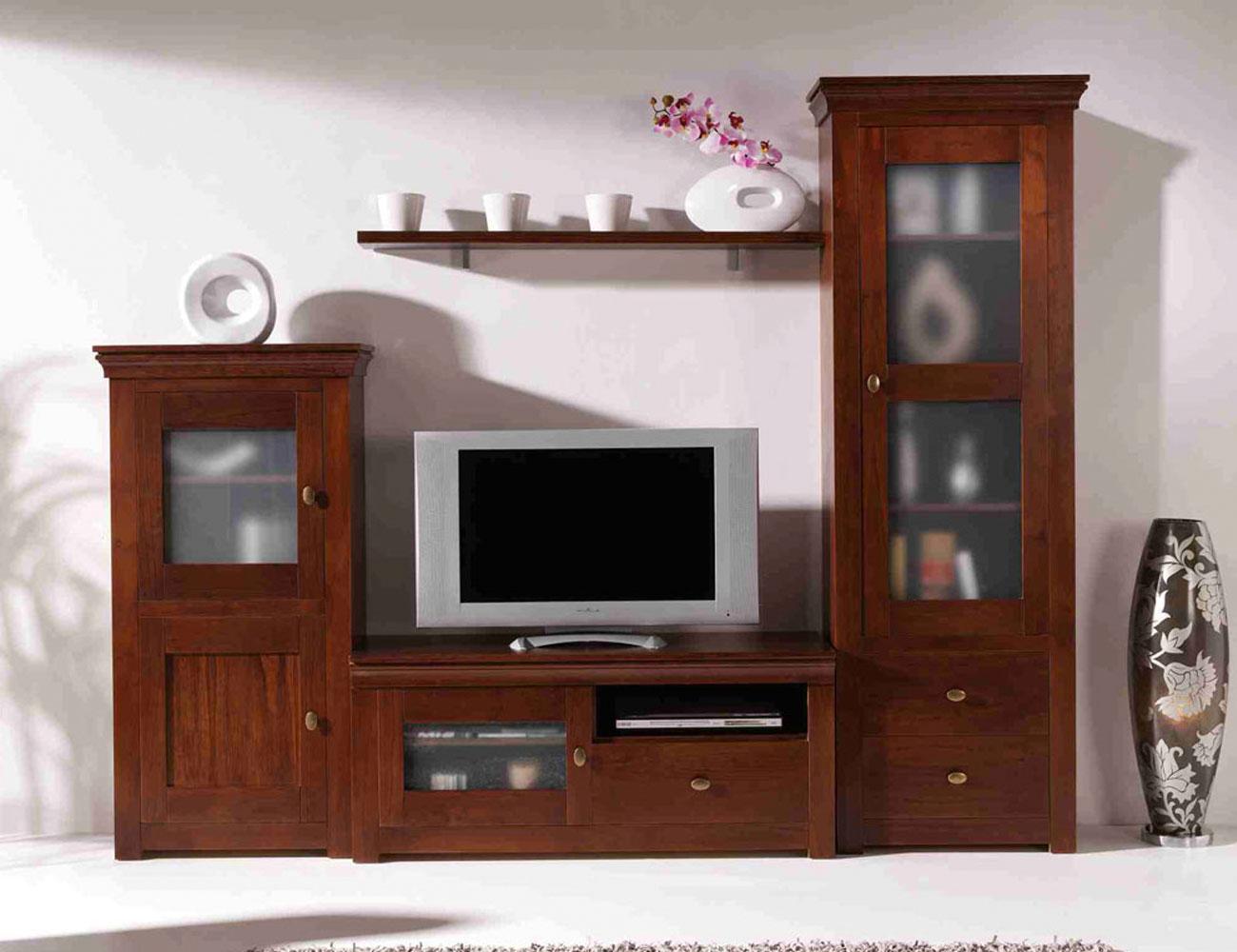 Mueble salon comedor nogal madera dm2