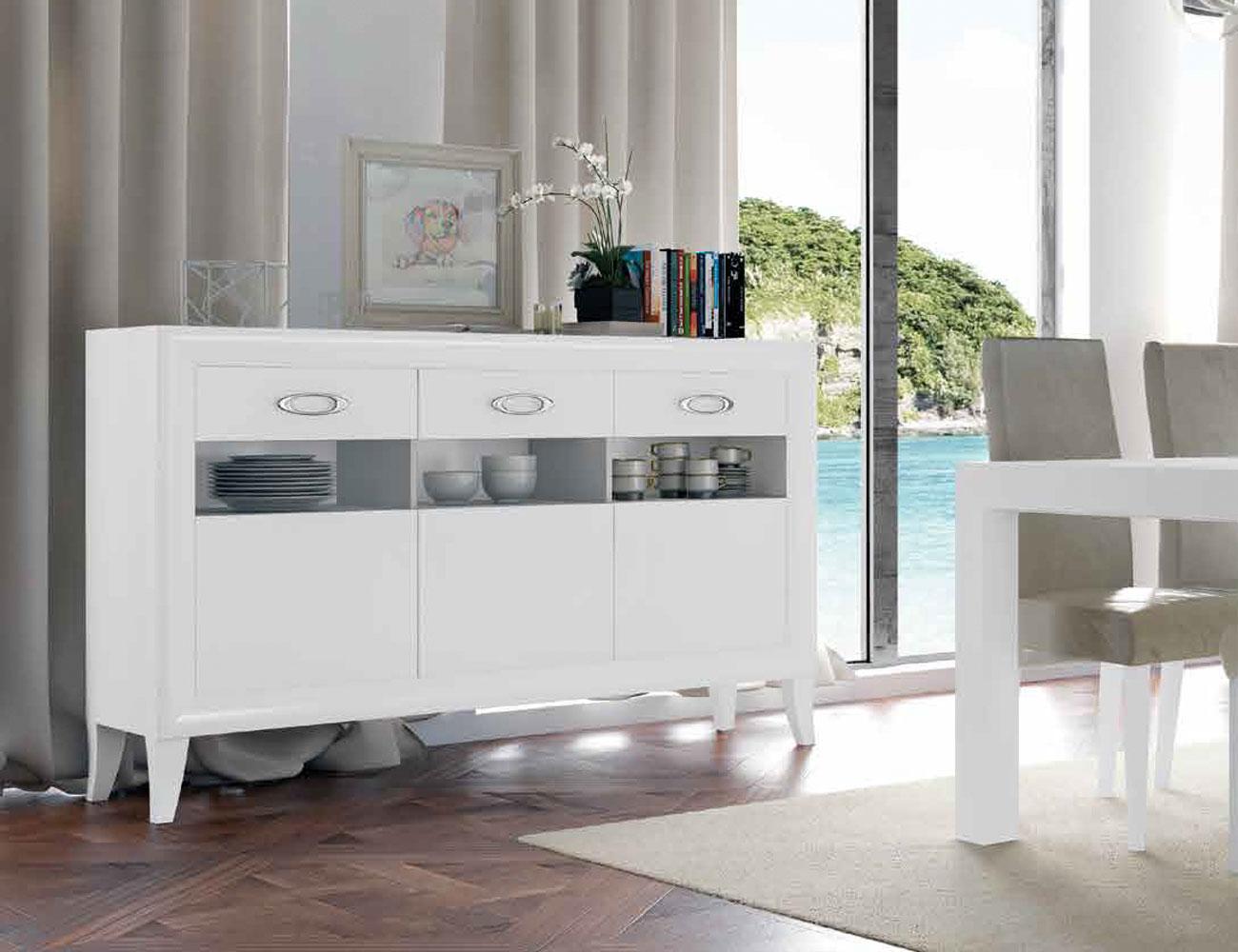 Mueble salon comedor romantico aparador blanco