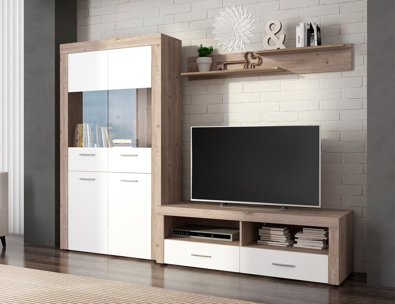 Mueble salon comedor vitrina bajo tv estante color cañon 235cm
