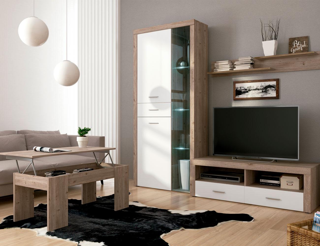 Mueble salon comedor vitrina bajo tv estante nelson blanco