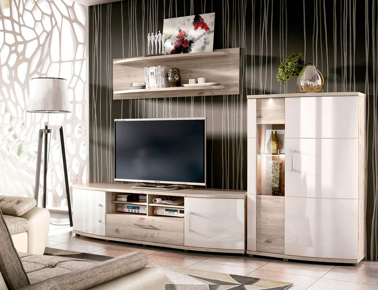Mueble salon comedor vitrina bodeguero bajo tv nelson blanco