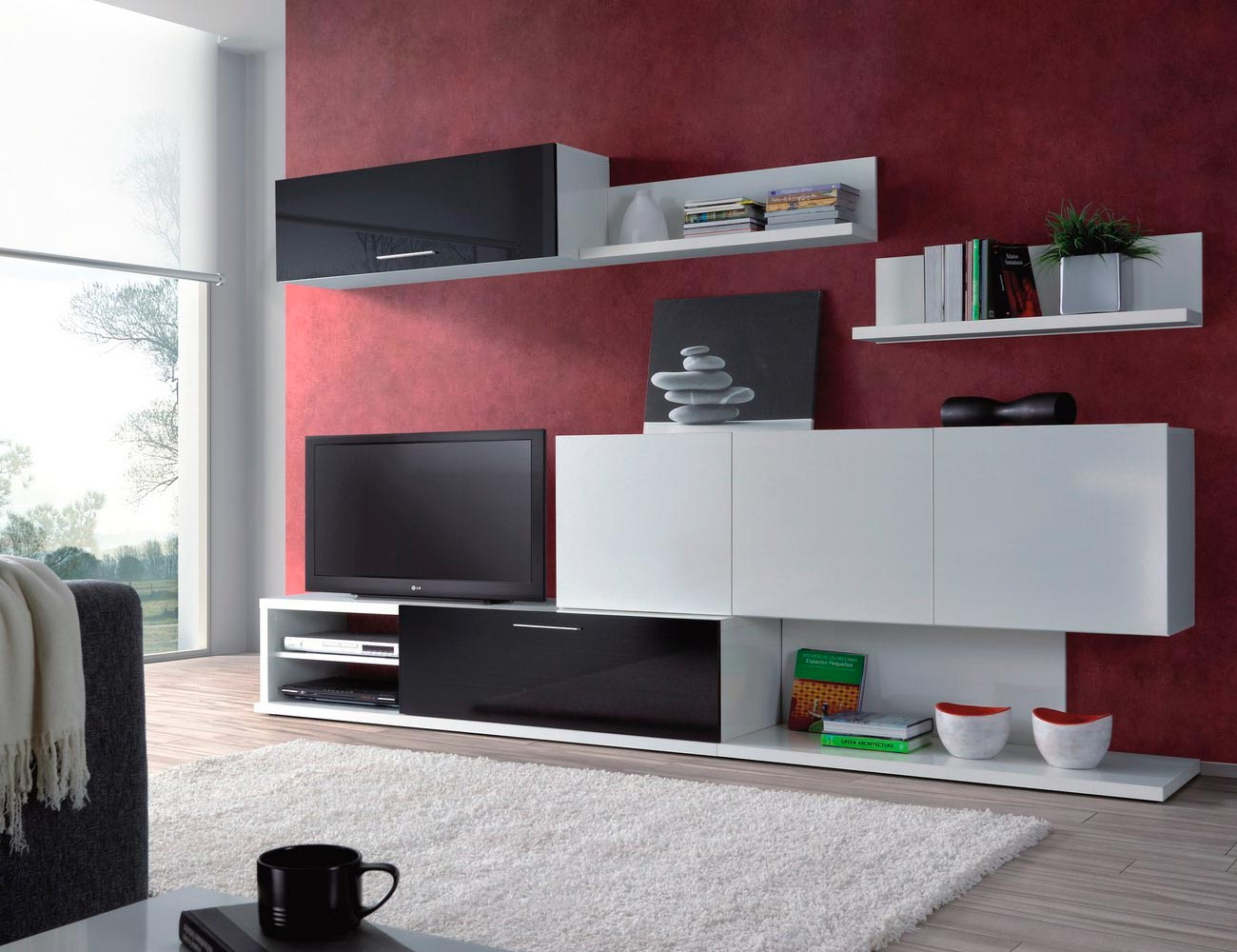 Mueble salon comodedor blanco negro