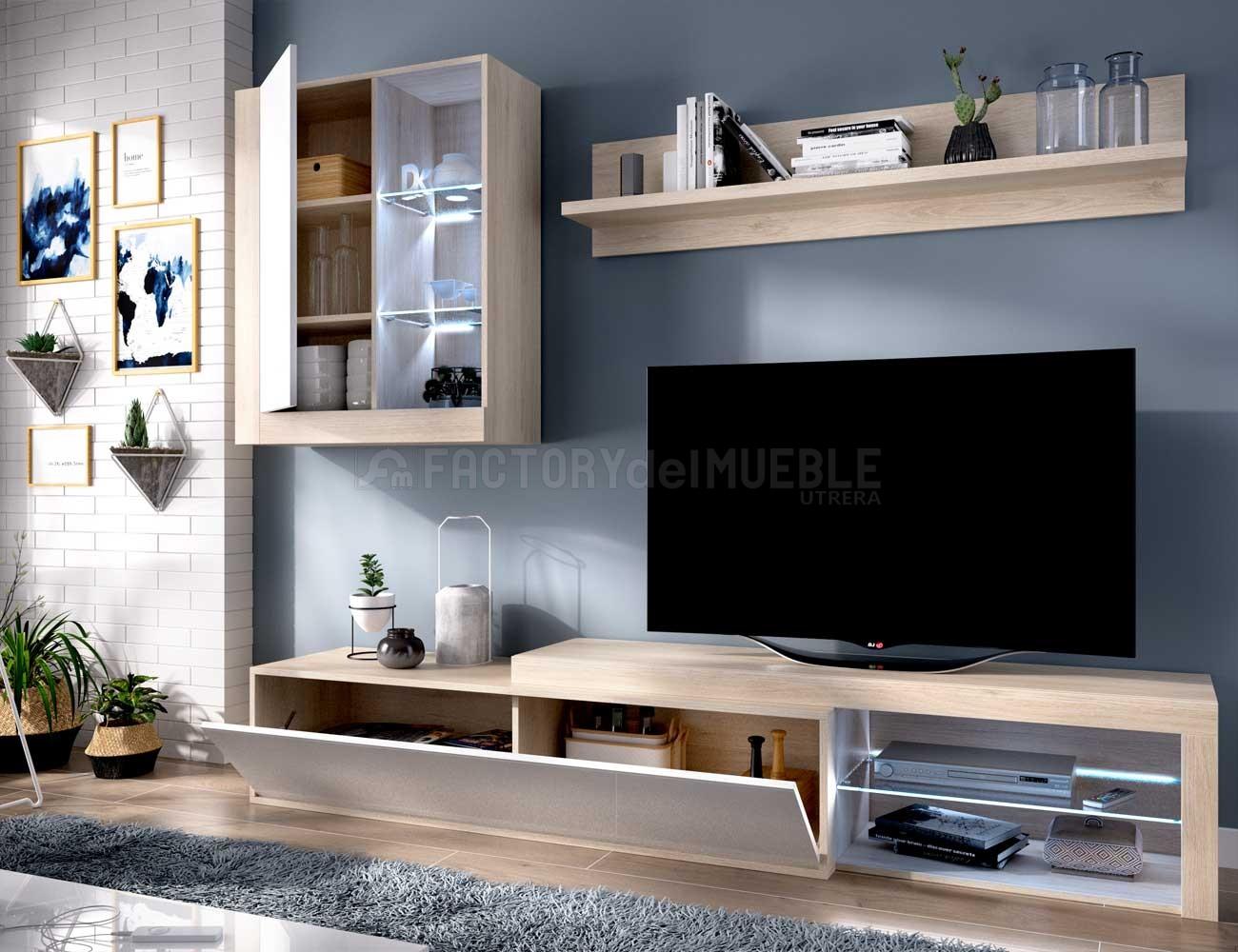 Mueble salon luces leds natural blanco