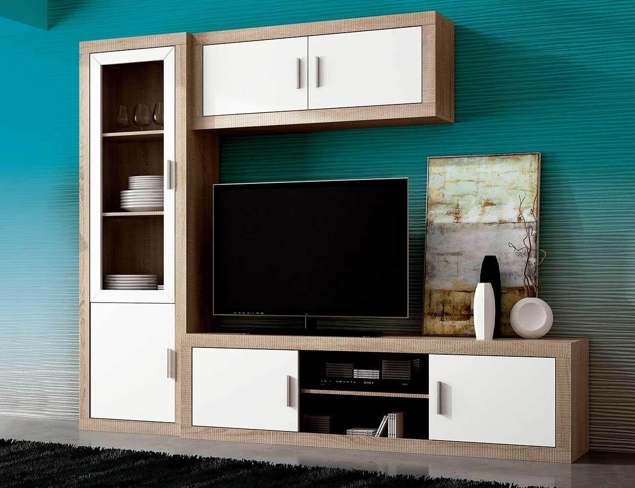 Mueble salon madera vitrina tv vitrina cristal cambrian blanco