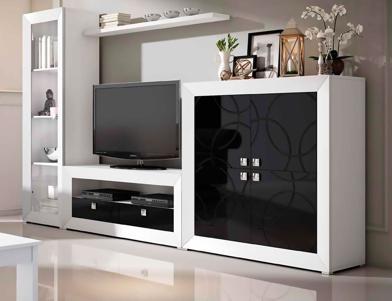 Mueble de sal n modular moderno lacado 2452 factory for Espejos de salon modernos