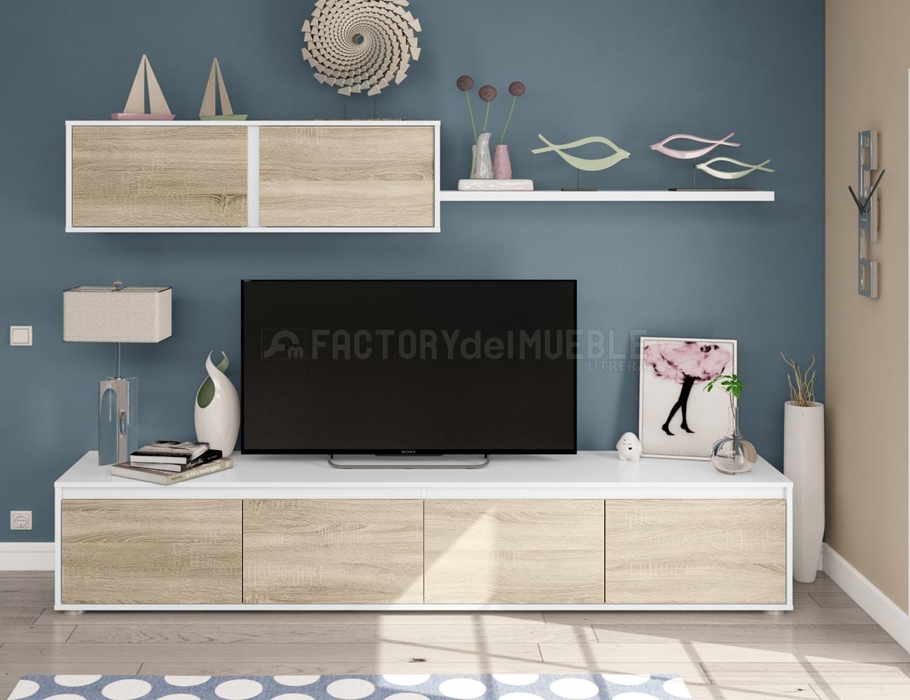 Mueble de salón en Roble canadian con blanco artik