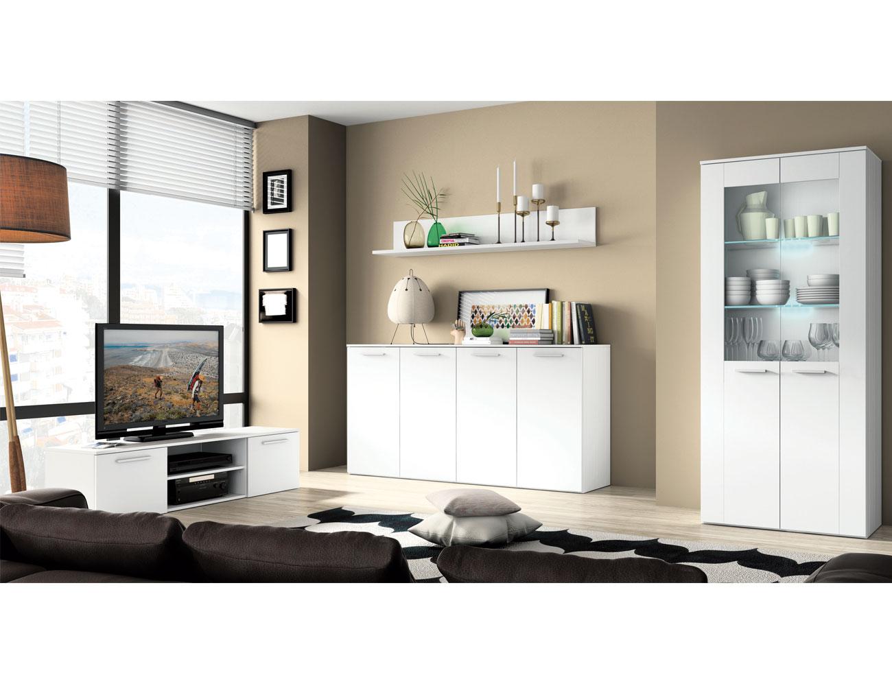 Muebles de comedor blanco saln muebles lacados en blanco - Mueble salon gris ...