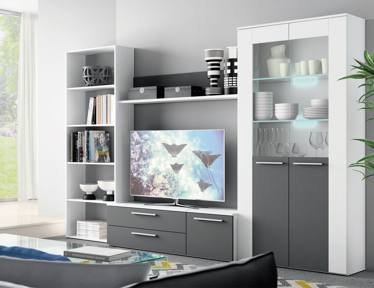 Mueble salon moderno blanco grafito 404
