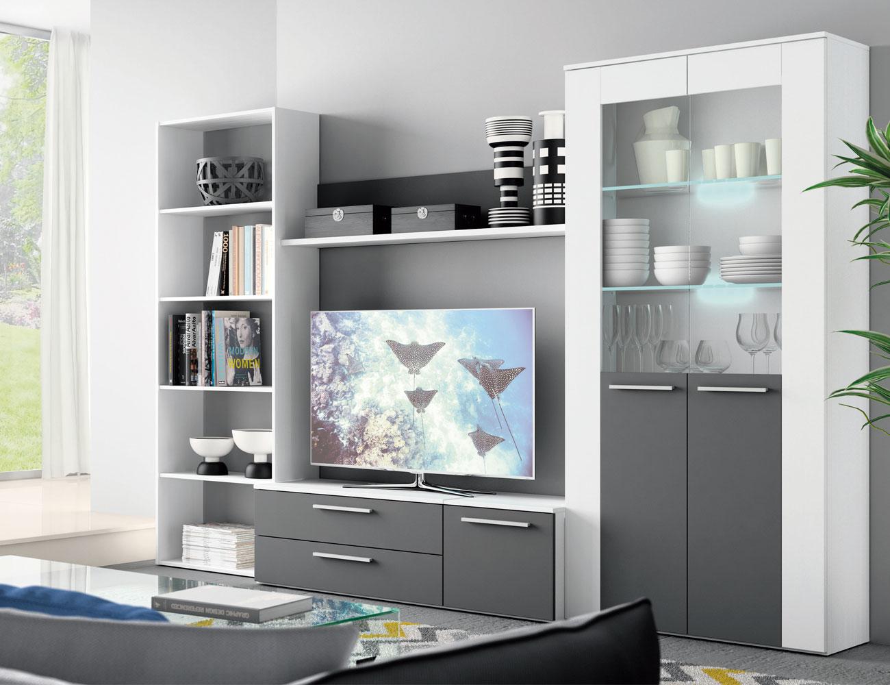 Mueble salon moderno blanco grafito 404