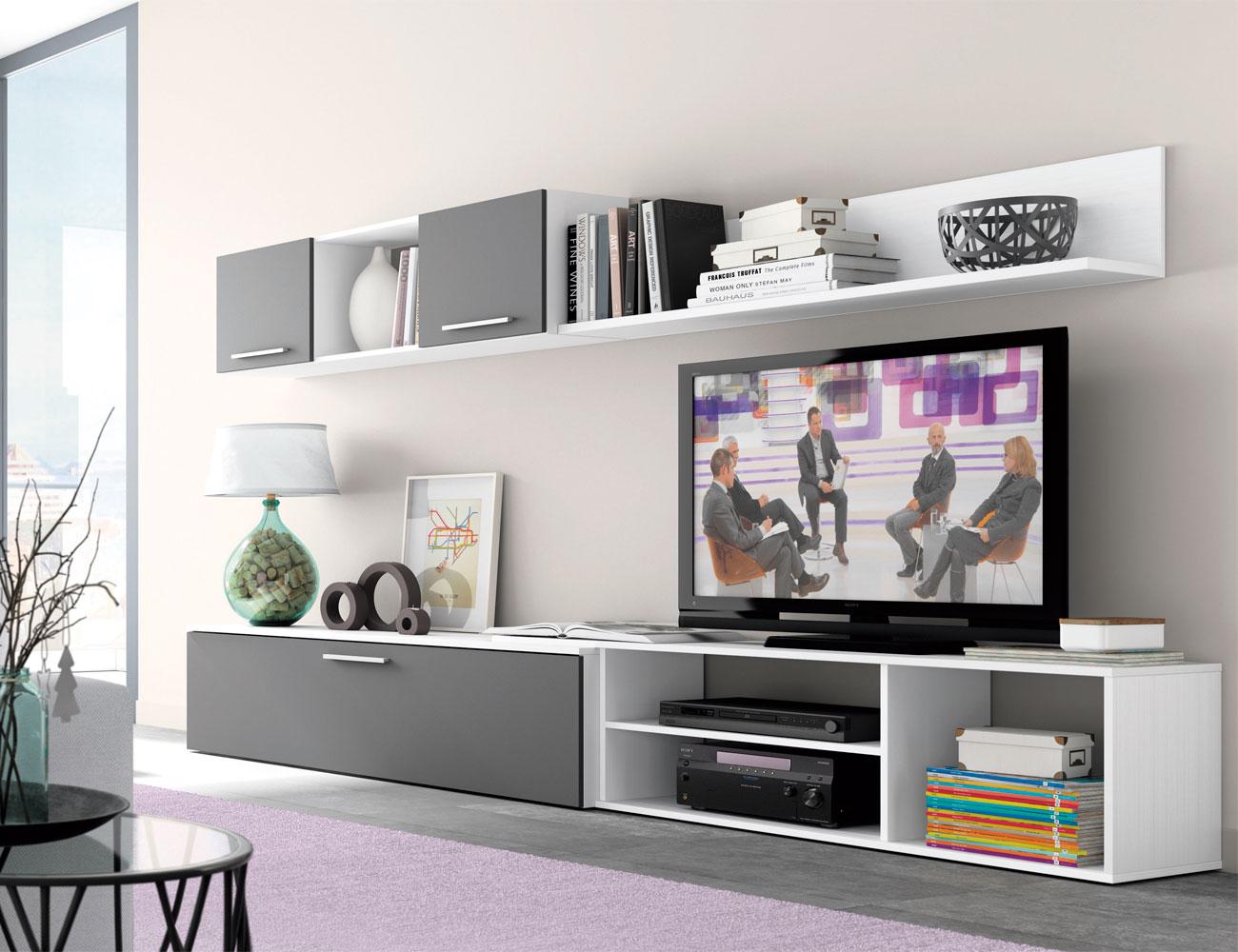 Mueble salon moderno blanco grafito 421