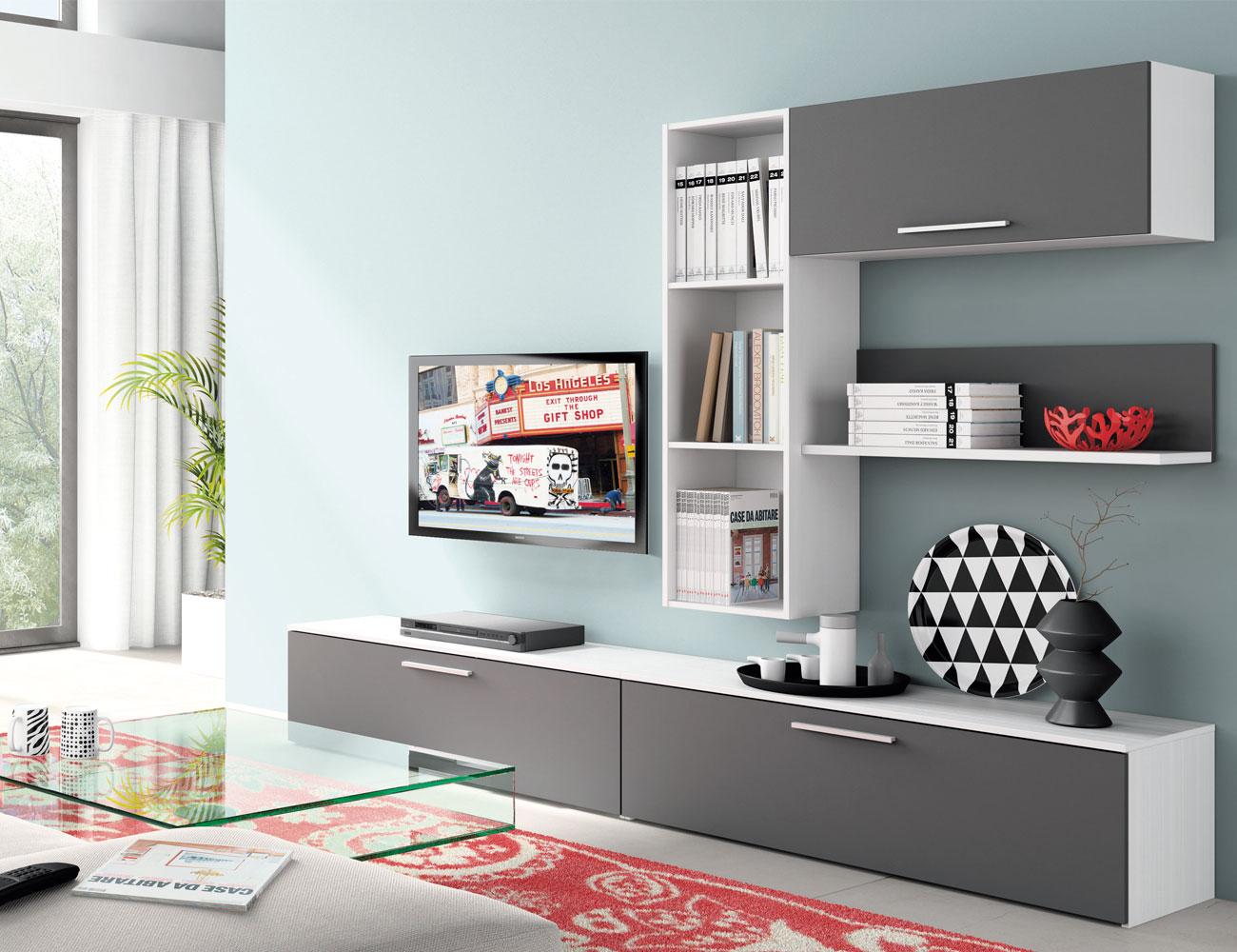Mueble salon moderno blanco grafito