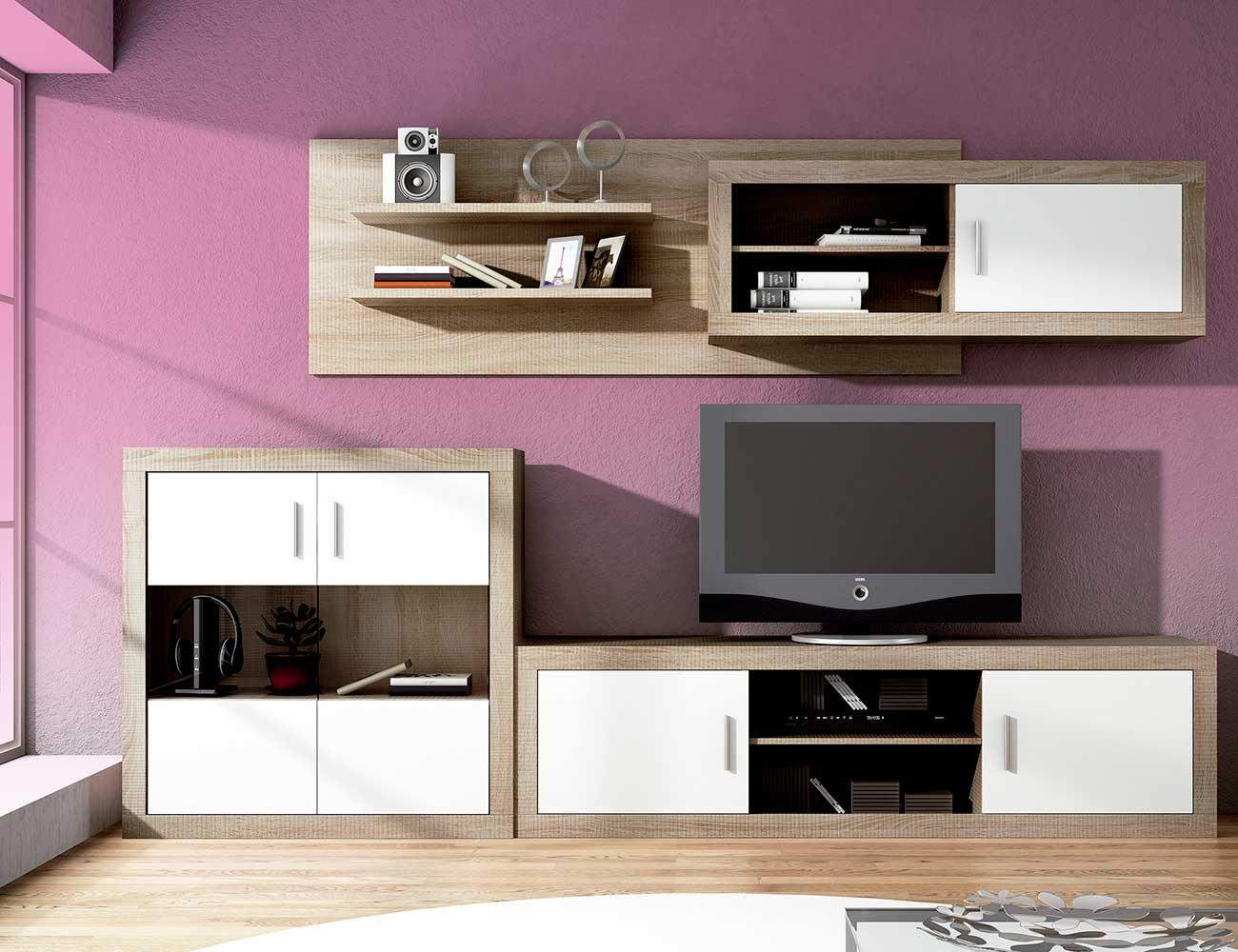 Mueble salon moderno bodeguero cambrian blanco