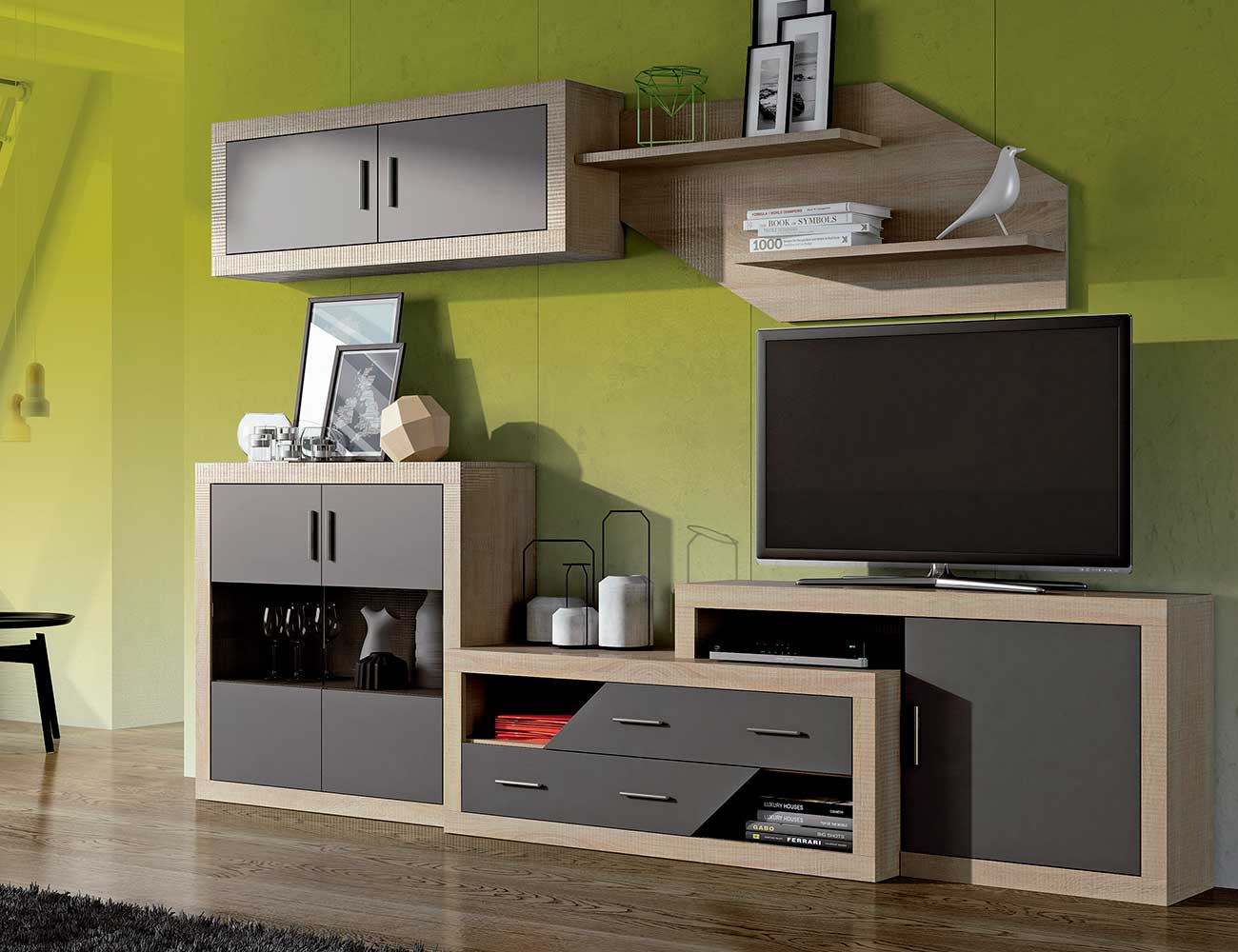 Mueble salon moderno bodeguero cambrian grafito 300 cm1