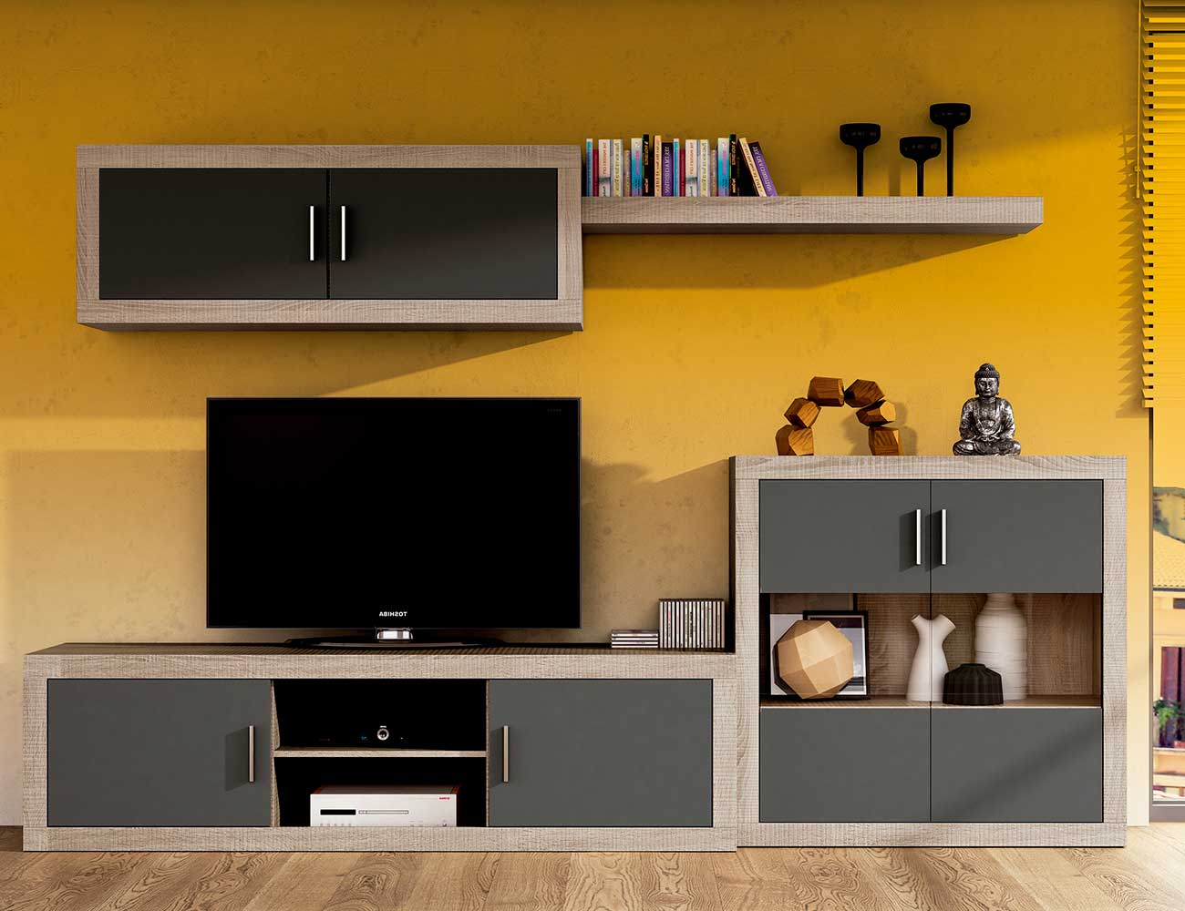 Mueble salon moderno bodeguero cambrian grafito