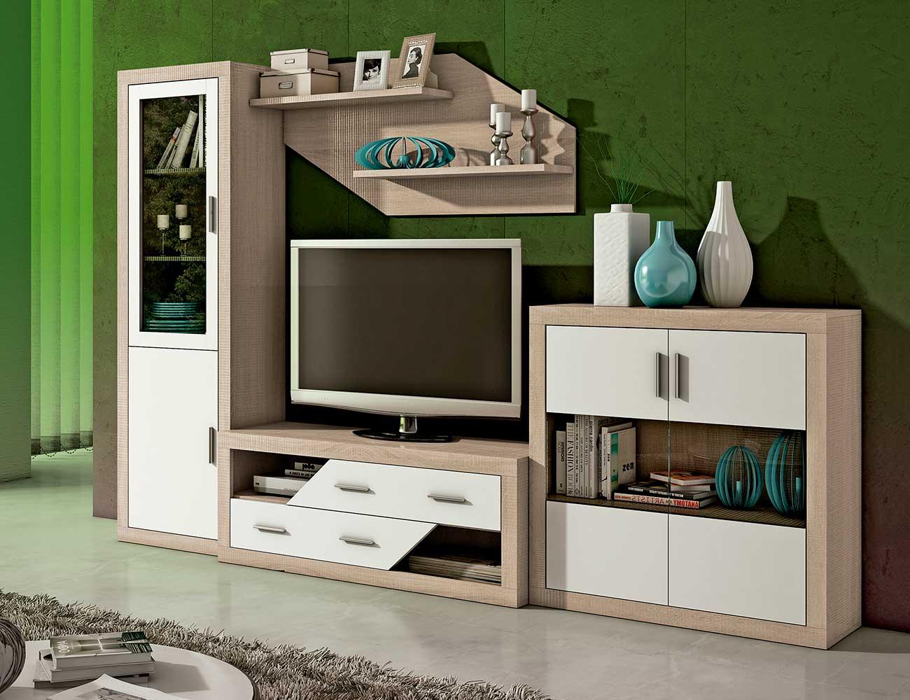Mueble salon moderno bodeguero vitrina cambrian blanco 300 cm