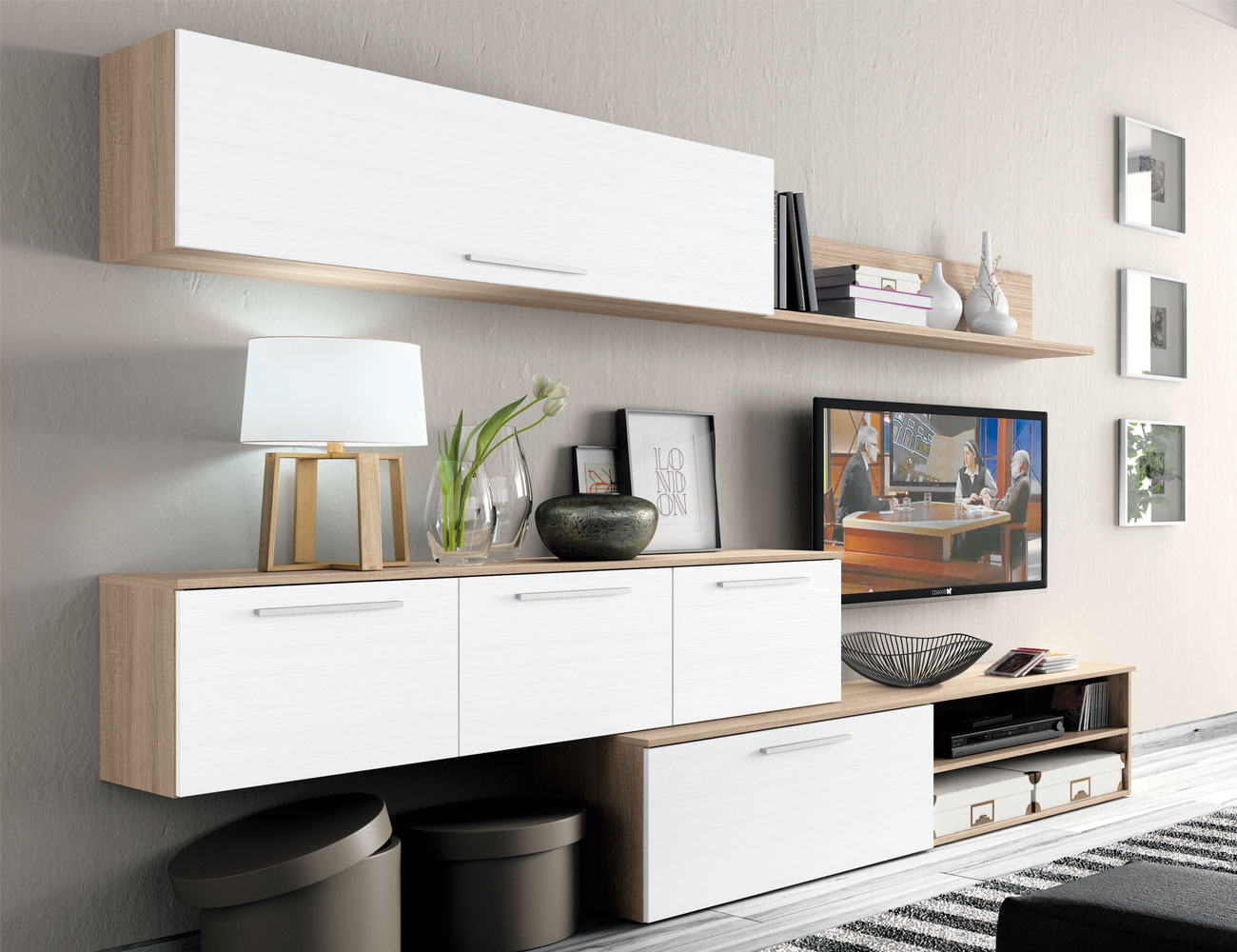 Mueble salon moderno cambrian blanco2
