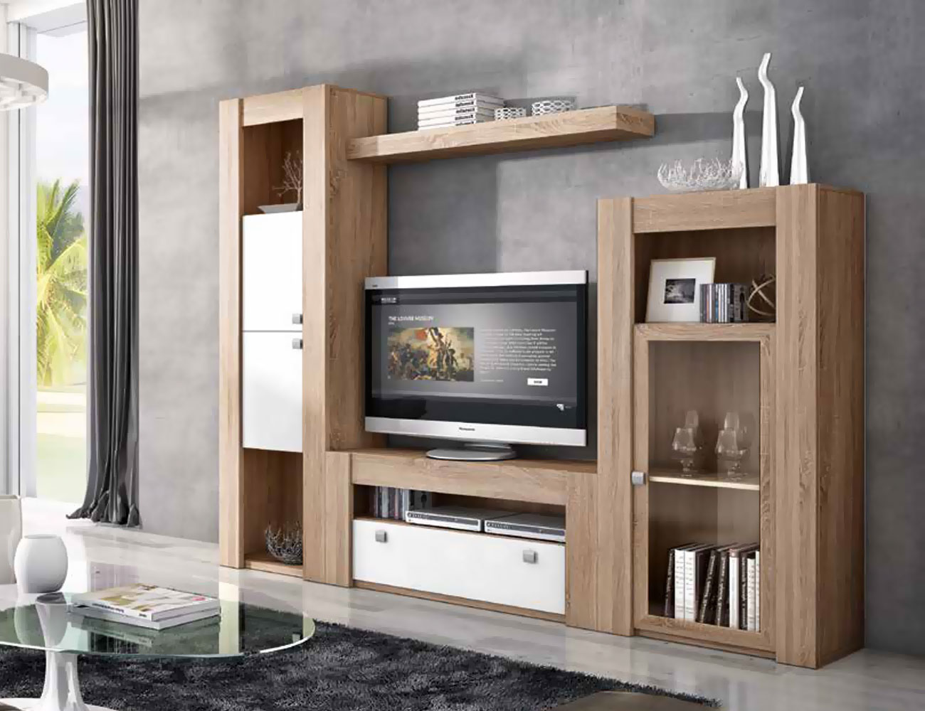 Mueble de sal n modular moderno en cambrian blanco 2276 for Mueble modular salon