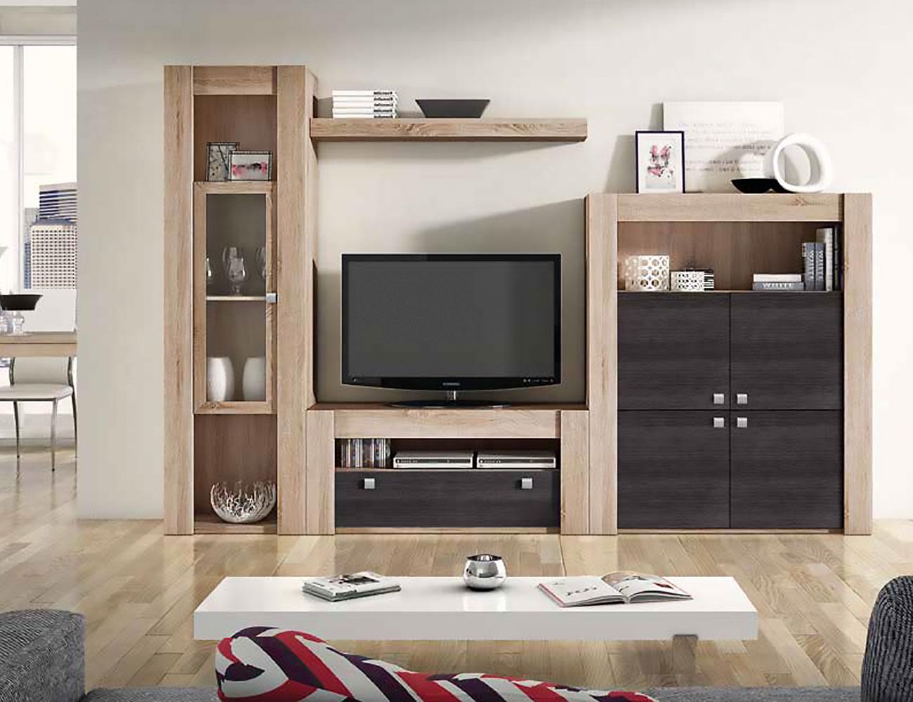 Mueble de sal n modular moderno en cambrian ceniza 2280 for Mueble modular salon
