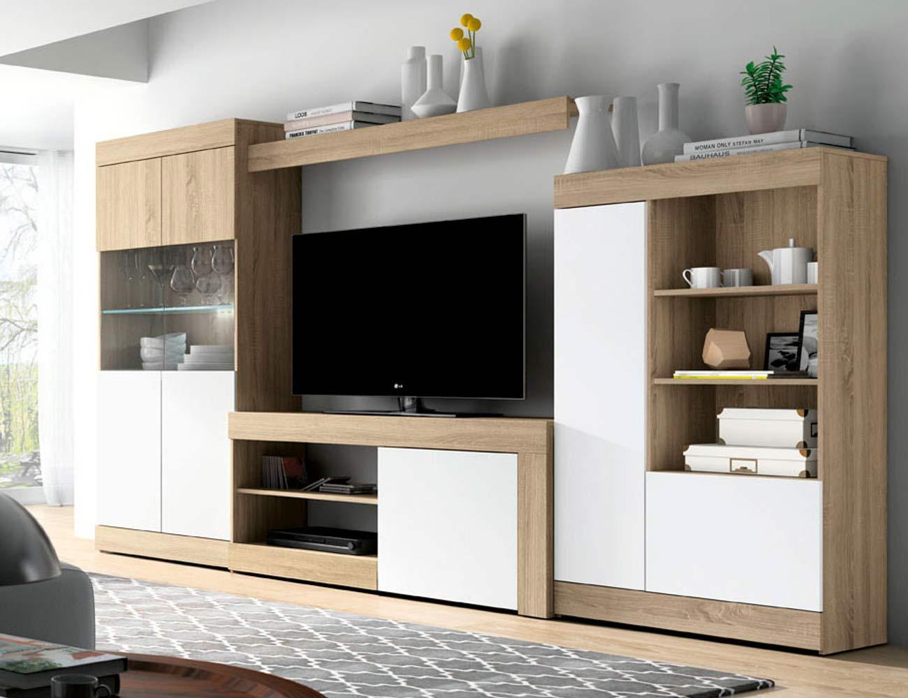 mueble de saln comedor estilo moderno en cambrian con luces leds ud muebles comedor kit