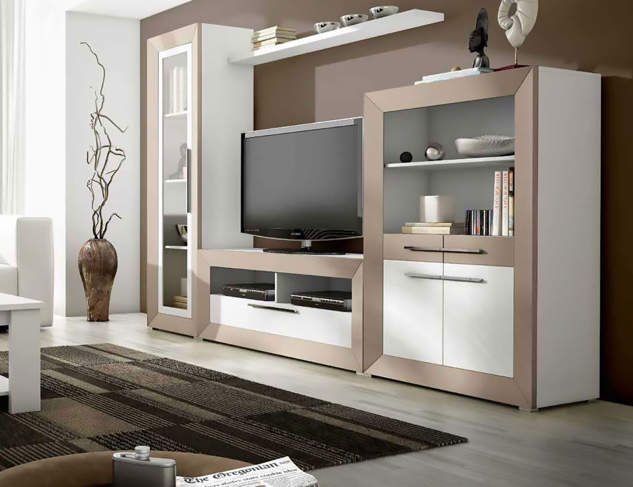 Mueble de sal n moderno en blanco con vis n 2400 for Muebles de salon clasicos en blanco