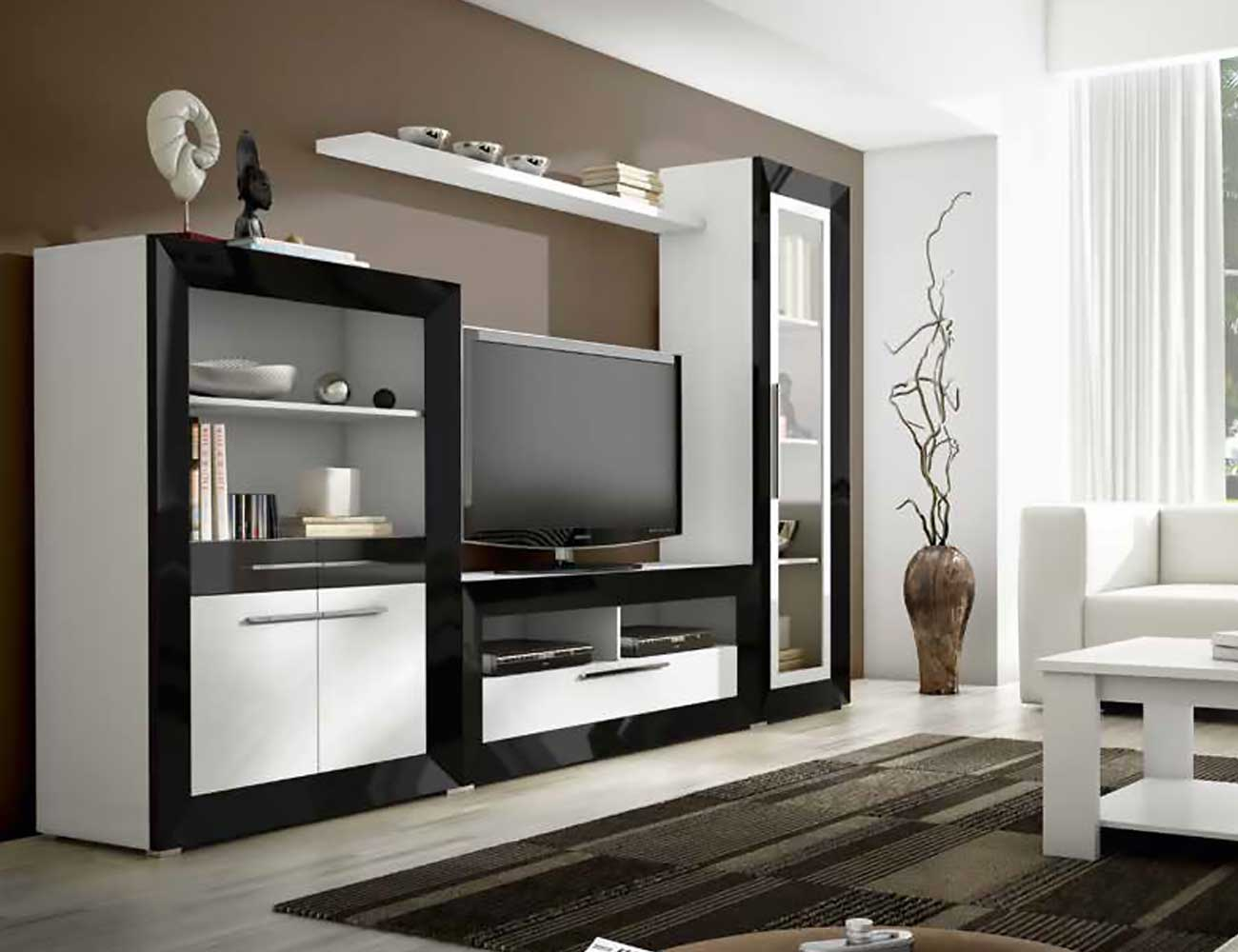 Mueble de sal n moderno en blanco con negro 2401 for Mueble salon moderno blanco