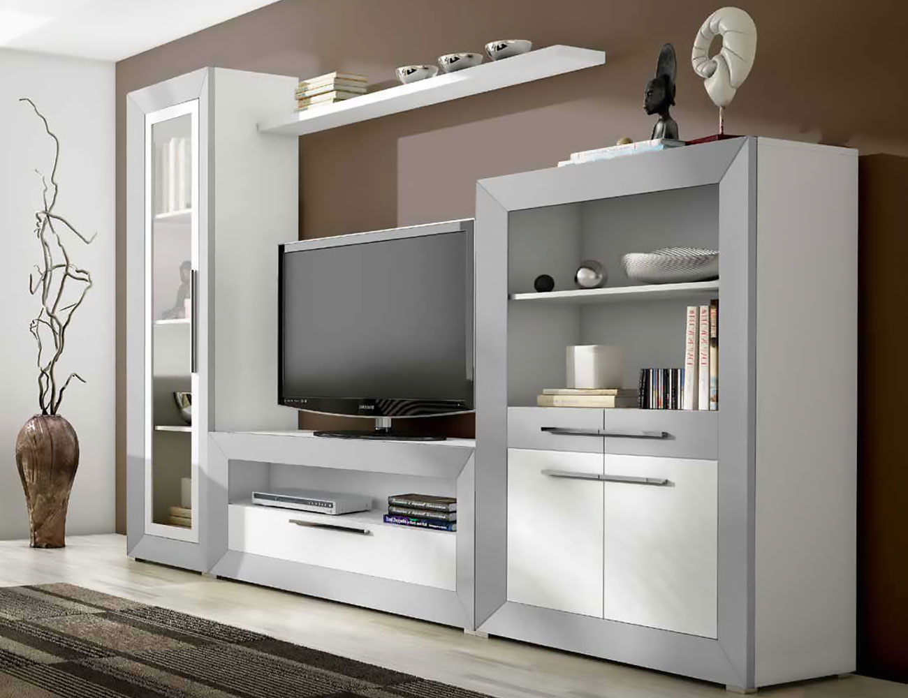 Mueble de sal n modular moderno en blanco con plata 2427 for Mueble salon moderno blanco