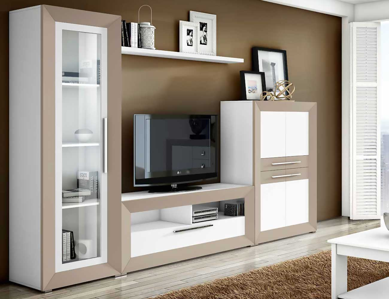 Mueble de sal n moderno blanco con vis n 2428 factory for Muebles de salon de madera modernos