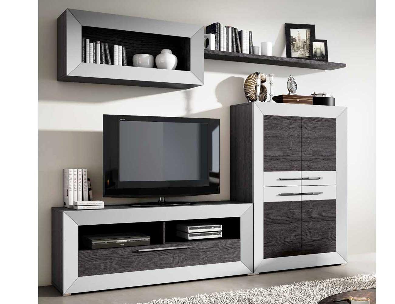 Mueble de sal n moderno en ceniza con plata 2429 for Salones de madera modernos