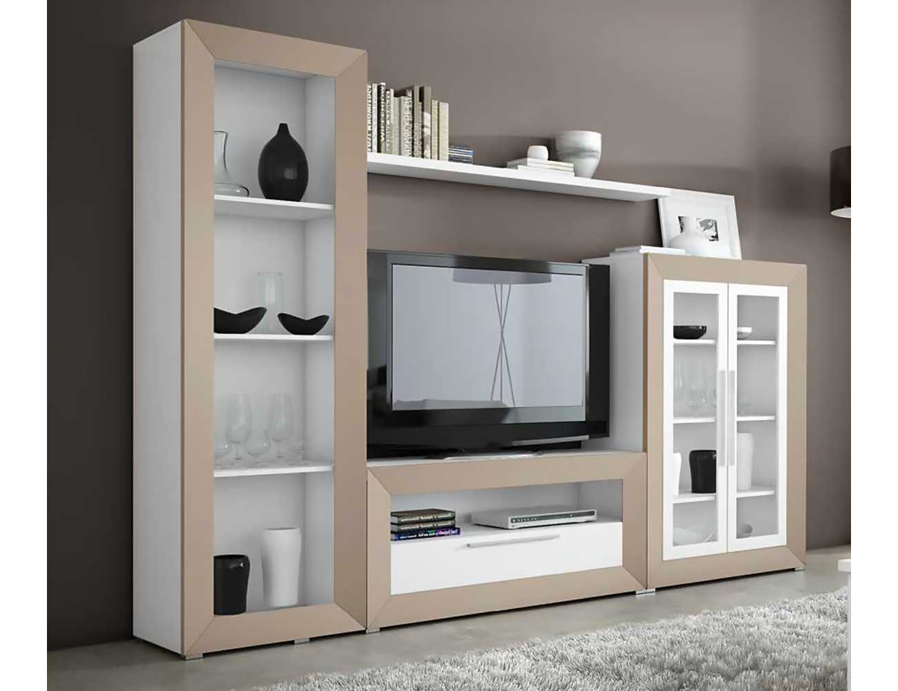 Mueble de sal n moderno en blanco con vis n 2432 for Mueble salon moderno blanco
