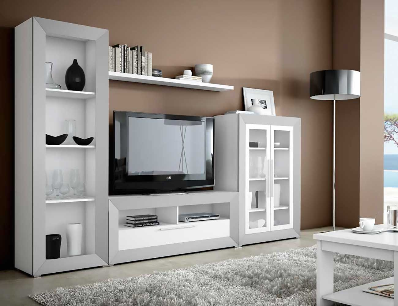 Mueble de sal n moderno en blanco con plata 2433 for Muebles de salon color blanco