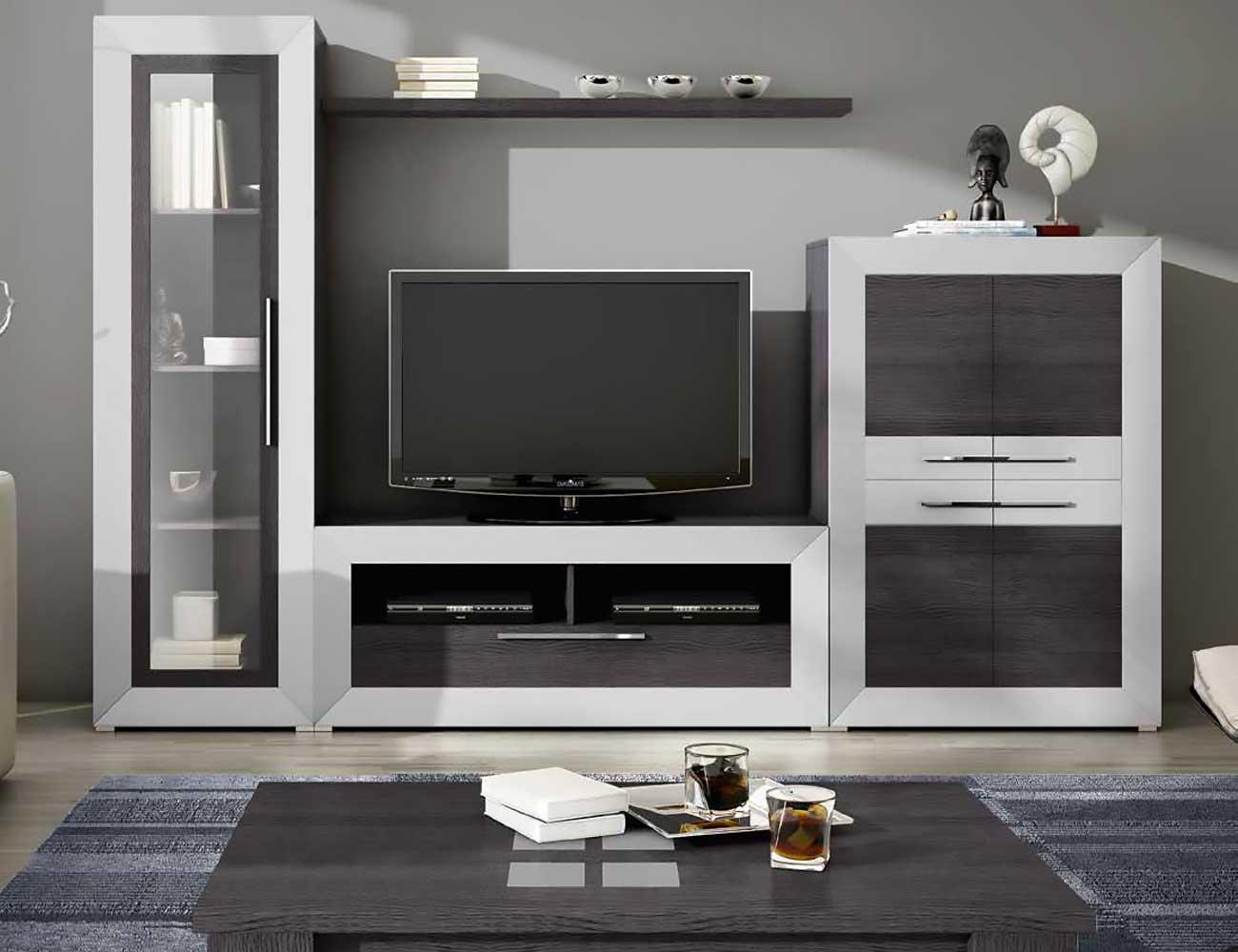 Mueble de sal n moderno en ceniza con plata 2434 for Salones de madera modernos