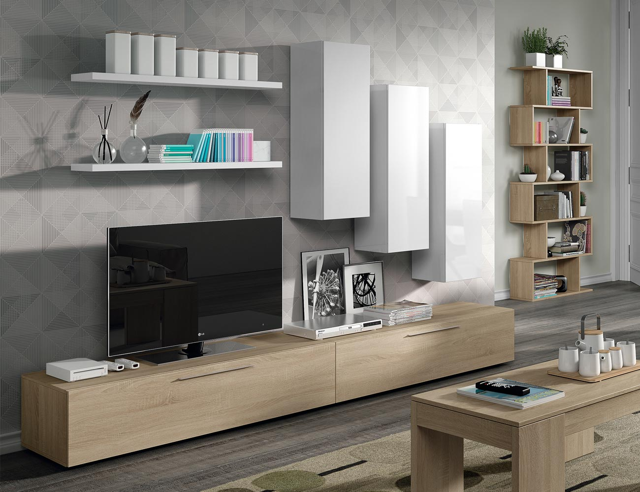Mueble salon moderno roble blanco