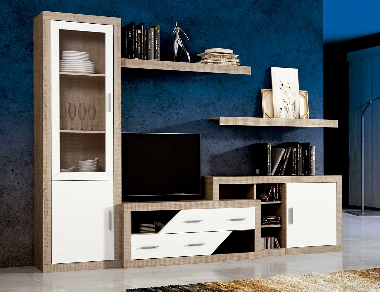 Mueble de sal n estilo moderno con bodeguero color for Mueble salon 180 cm