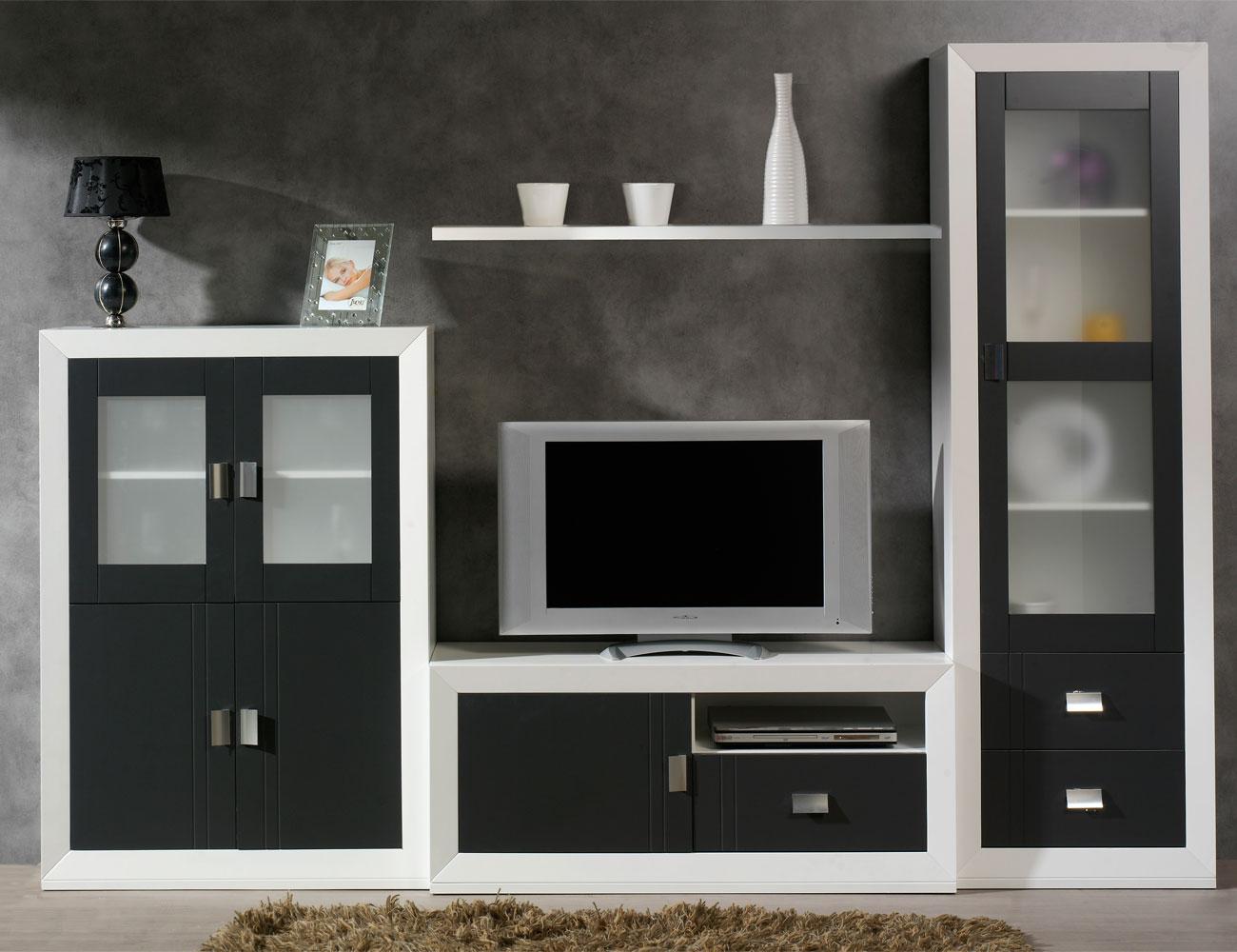 Mueble salon modular  blanco grafito madera dm