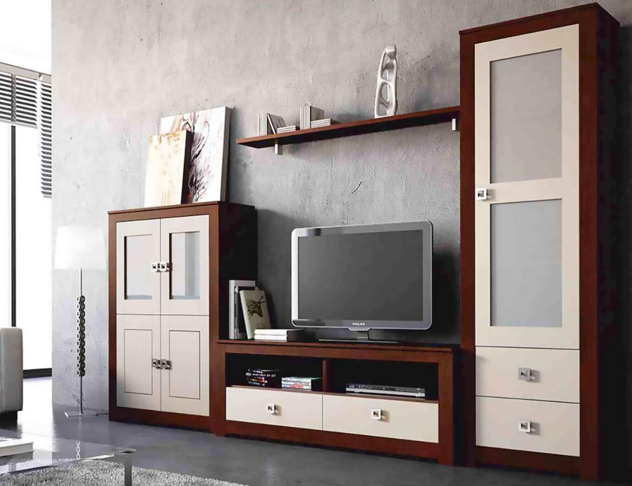 Mueble salon modular  nogal piedra madera dm
