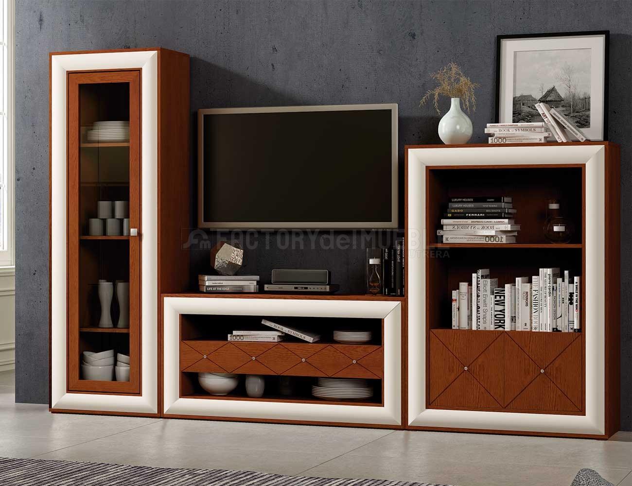 Mueble salon neoclasico cerezo blanco roto