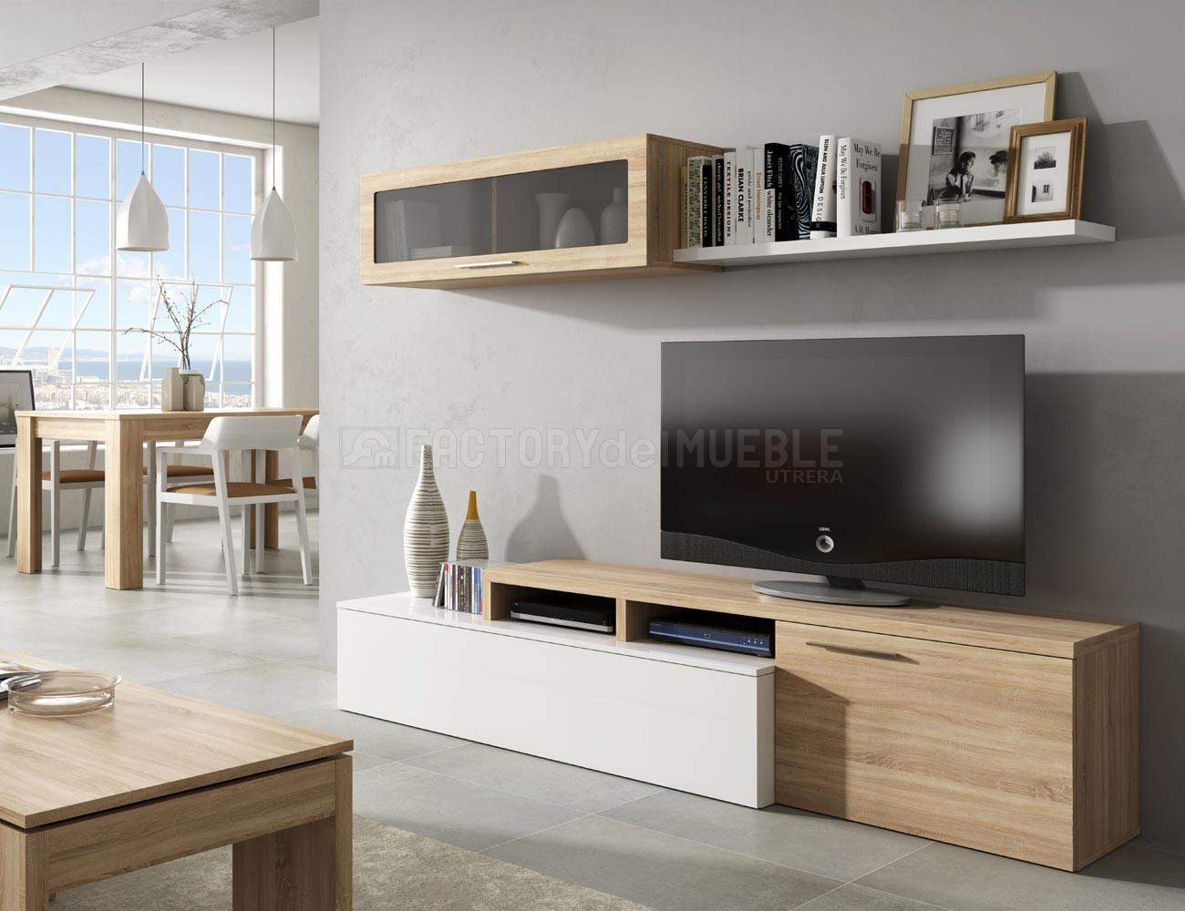 Mueble de salón comedor Nexus en blano brillo con Roble (27384 ...