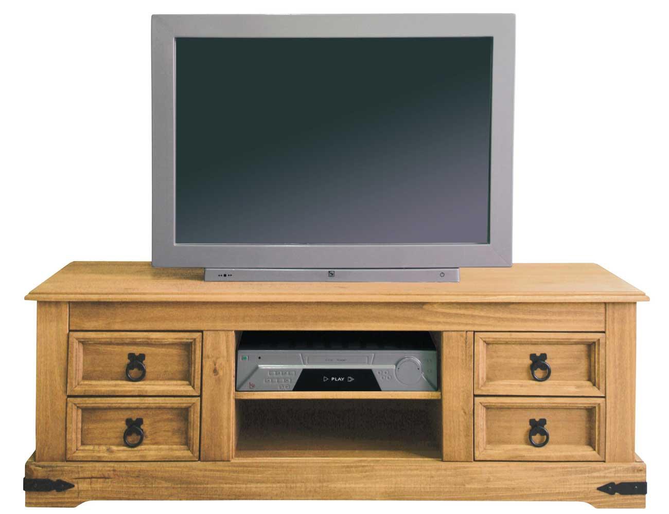 Mesa bajo tv 4 cajones y 2 huecos en madera r stico 130 cm for Mueble compacto tv