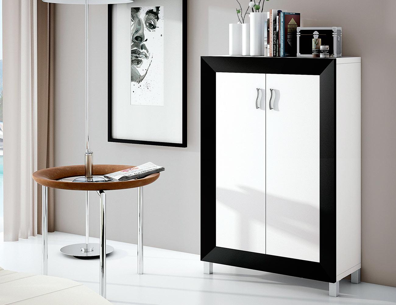 Zapatero 2 puertas abatibles en blanco con negro 5415 for Zapatero de dos puertas