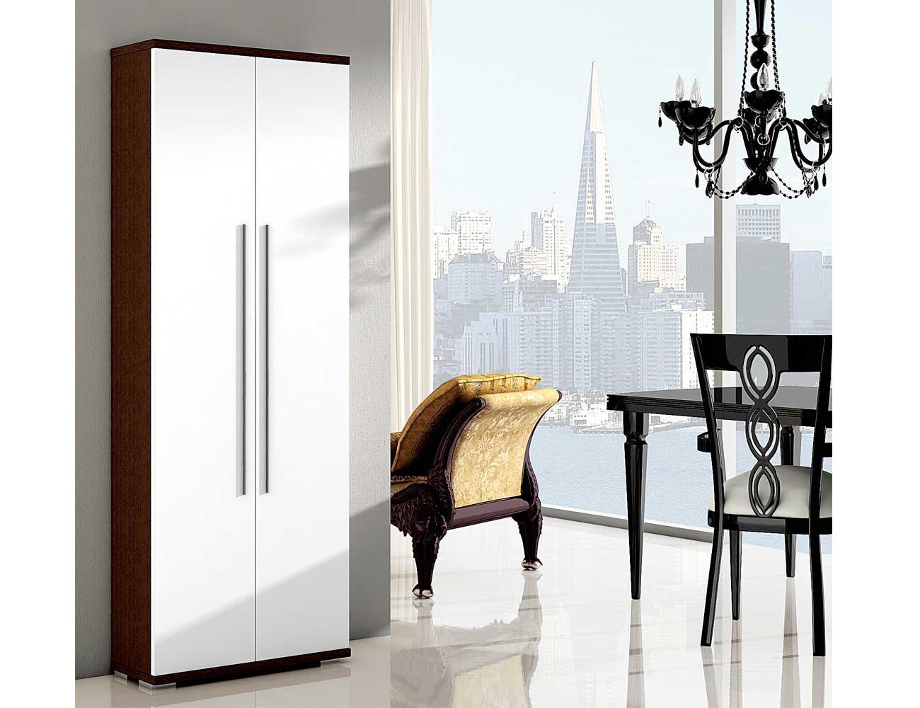 Mueble zapatero dos puertas wengue blanco 5